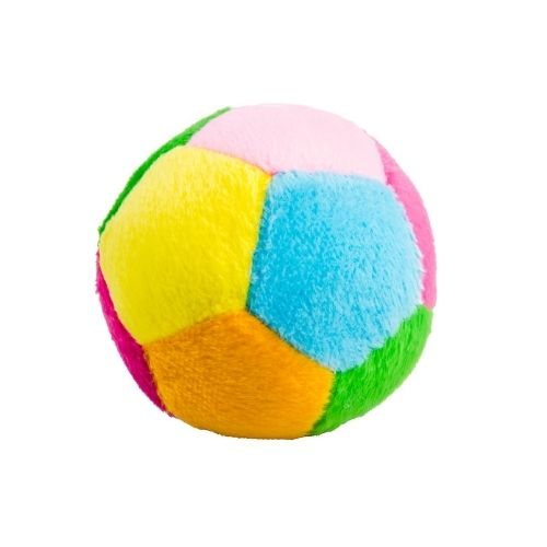 soft ball around the size of a tennis ball that's perfect for a one year old who loves to throw toys